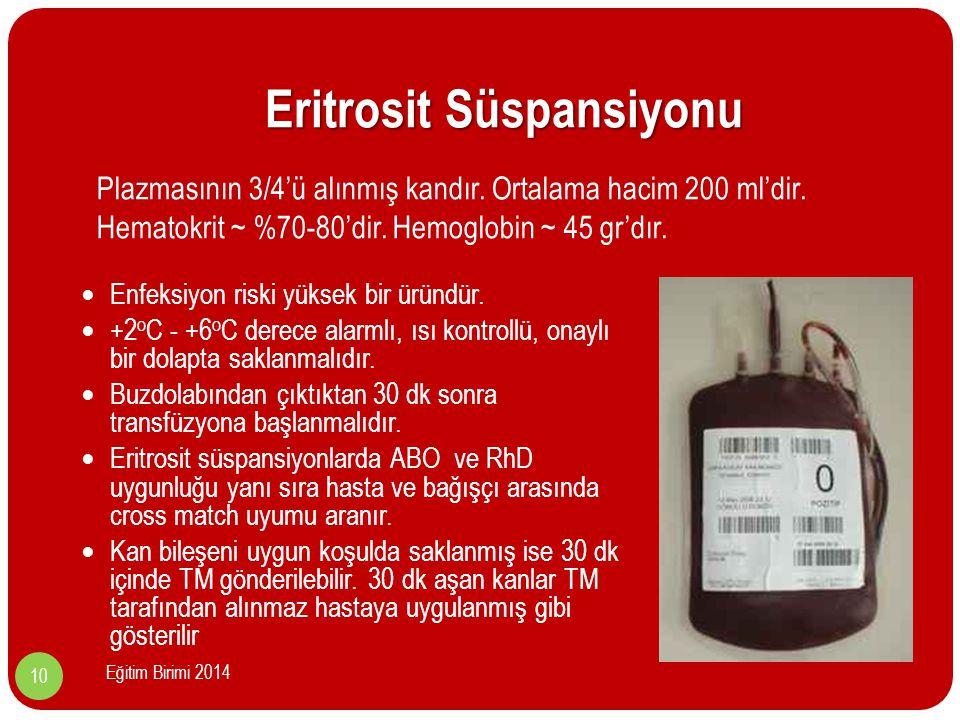 Eritrosit Süspansiyonu Enfeksiyon riski yüksek bir üründür.
