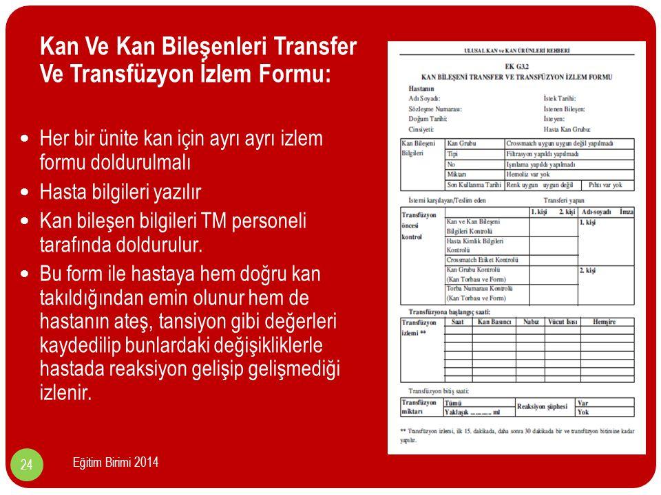 Kan Ve Kan Bileşenleri Transfer Ve Transfüzyon İzlem Formu: Her bir ünite kan için ayrı ayrı izlem formu doldurulmalı Hasta bilgileri yazılır Kan bileşen bilgileri TM personeli tarafında doldurulur.
