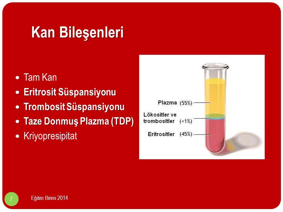 Hastanın Hazırlanması Transfüzyon yapılacak damar yolu önceden açılmalıdır.