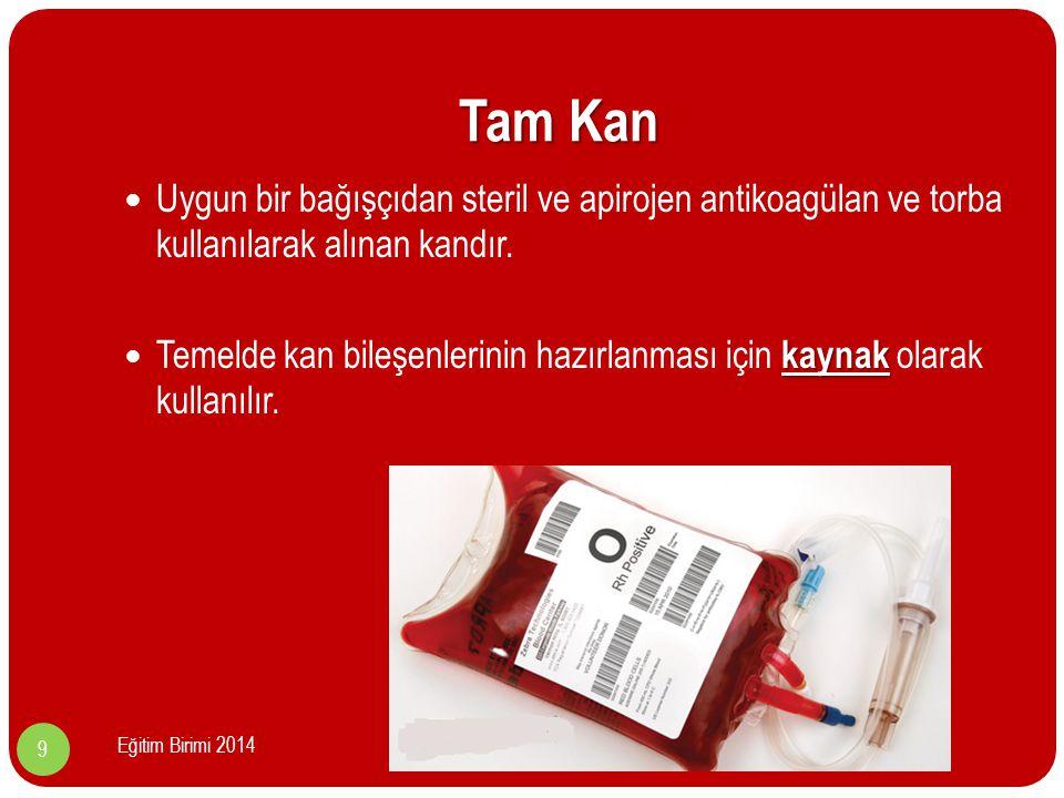Tam Kan Uygun bir bağışçıdan steril ve apirojen antikoagülan ve torba kullanılarak alınan kandır.