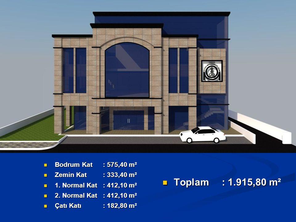 B.Kat : Kazan Dairesi, Jeneratör Odası, Arşiv ve Depolar, 20 Araçlık Otopark, Z.
