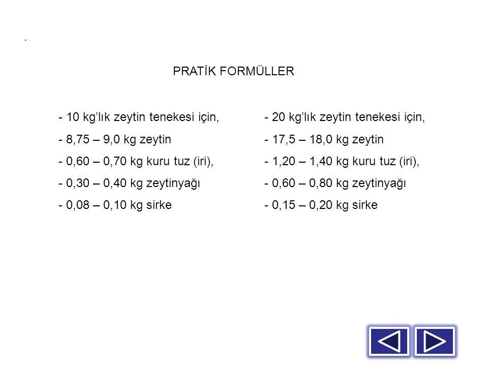 - 20 kg'lık zeytin tenekesi için, - 17,5 – 18,0 kg zeytin - 1,20 – 1,40 kg kuru tuz (iri), - 0,60 – 0,80 kg zeytinyağı - 0,15 – 0,20 kg sirke. - 10 kg