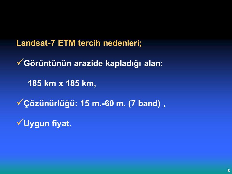 8 Landsat-7 ETM tercih nedenleri; Görüntünün arazide kapladığı alan: 185 km x 185 km, Çözünürlüğü: 15 m.-60 m.