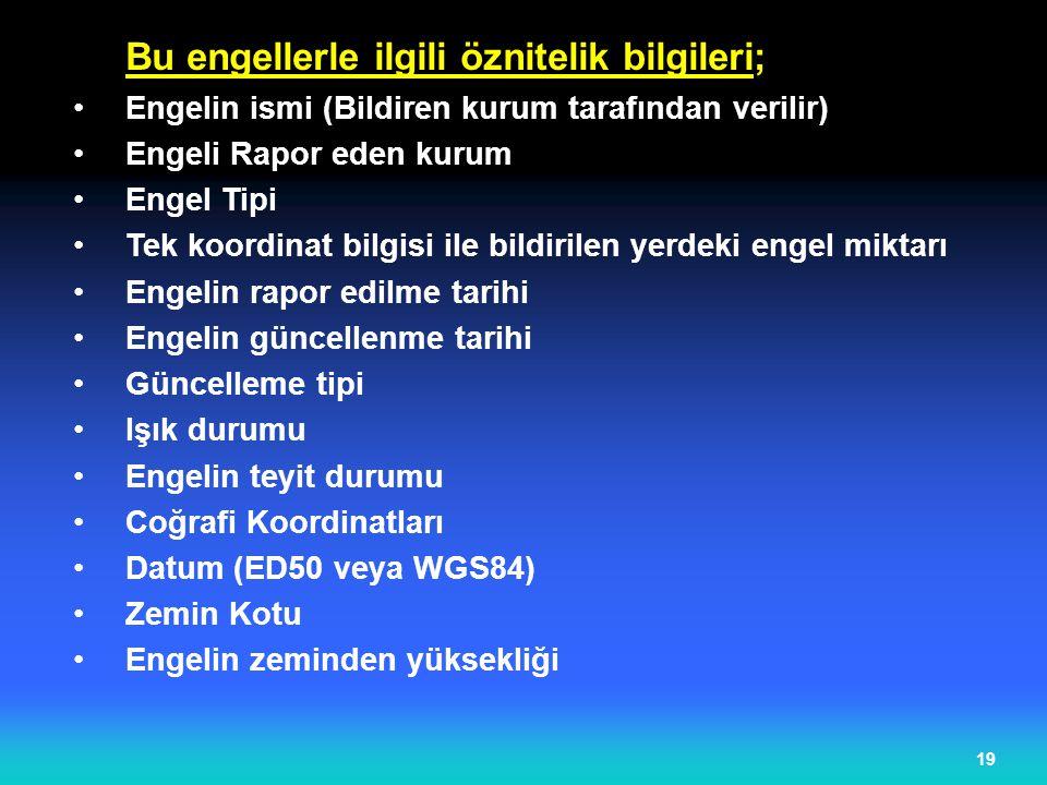 19 Bu engellerle ilgili öznitelik bilgileri; Engelin ismi (Bildiren kurum tarafından verilir) Engeli Rapor eden kurum Engel Tipi Tek koordinat bilgisi