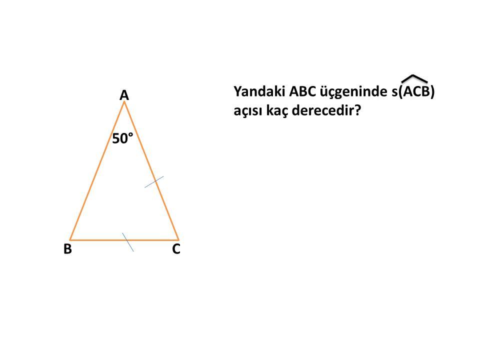 A BC 50° Yandaki ABC üçgeninde s(ACB) açısı kaç derecedir?