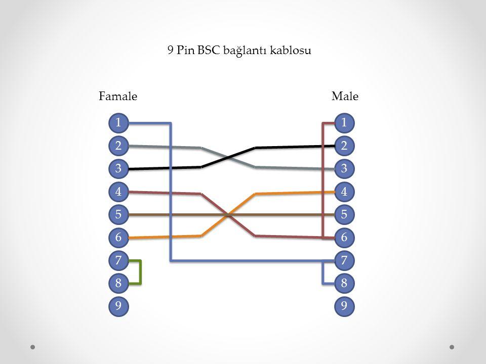 9 Pin BSC bağlantı kablosu 1 2 3 4 7 8 9 6 5 1 2 3 4 7 8 9 6 5 FamaleMale
