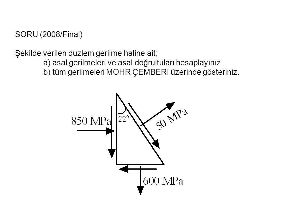 SORU (2008/Final) Şekilde verilen düzlem gerilme haline ait; a) asal gerilmeleri ve asal doğrultuları hesaplayınız. b) tüm gerilmeleri MOHR ÇEMBERİ üz