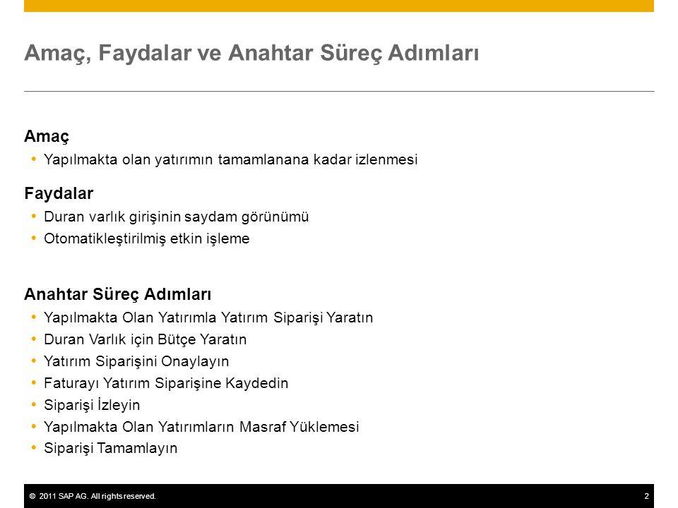 ©2011 SAP AG. All rights reserved.2 Amaç, Faydalar ve Anahtar Süreç Adımları Amaç  Yapılmakta olan yatırımın tamamlanana kadar izlenmesi Faydalar  D