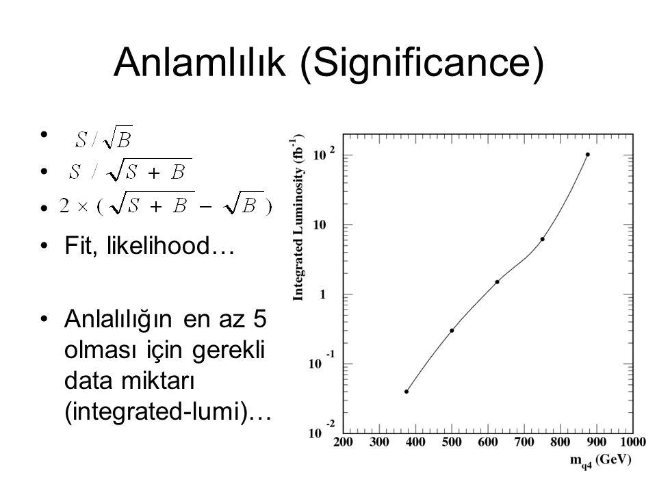 17 Anlamlılık (Significance) Fit, likelihood… Anlalılığın en az 5 olması için gerekli data miktarı (integrated-lumi)…