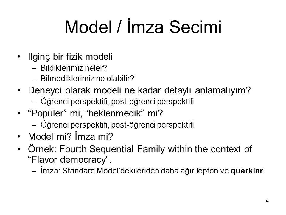 4 Model / İmza Secimi Ilginç bir fizik modeli –Bildiklerimiz neler.