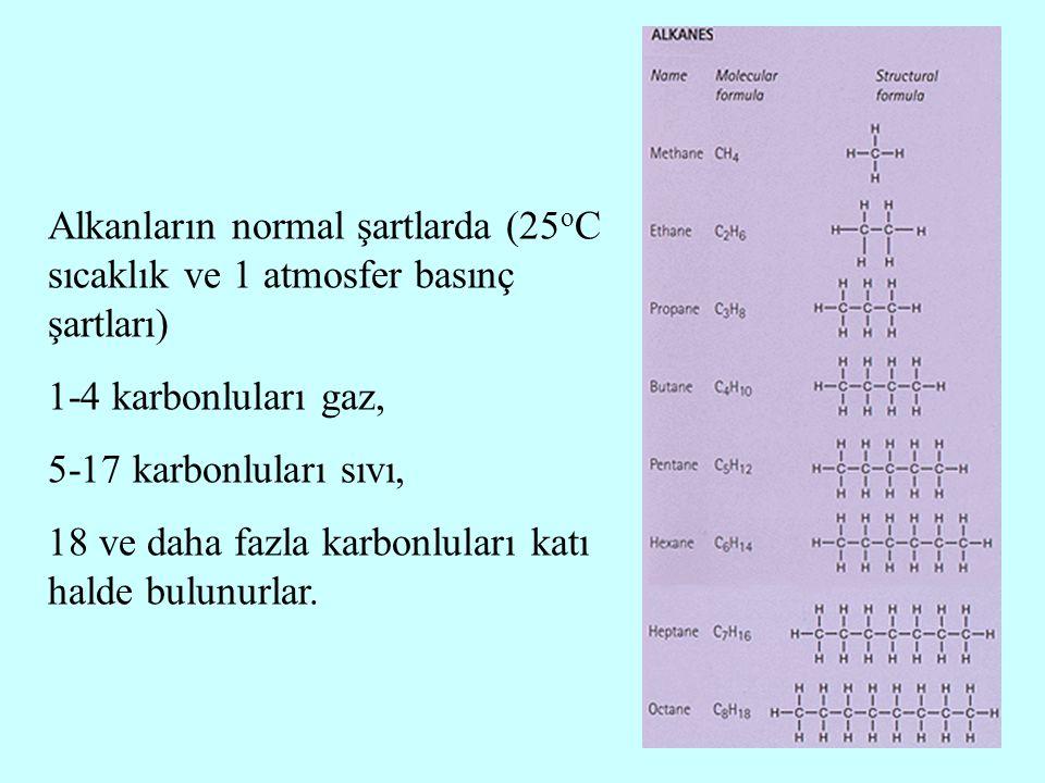 Alkanların normal şartlarda (25 o C sıcaklık ve 1 atmosfer basınç şartları) 1-4 karbonluları gaz, 5-17 karbonluları sıvı, 18 ve daha fazla karbonlular
