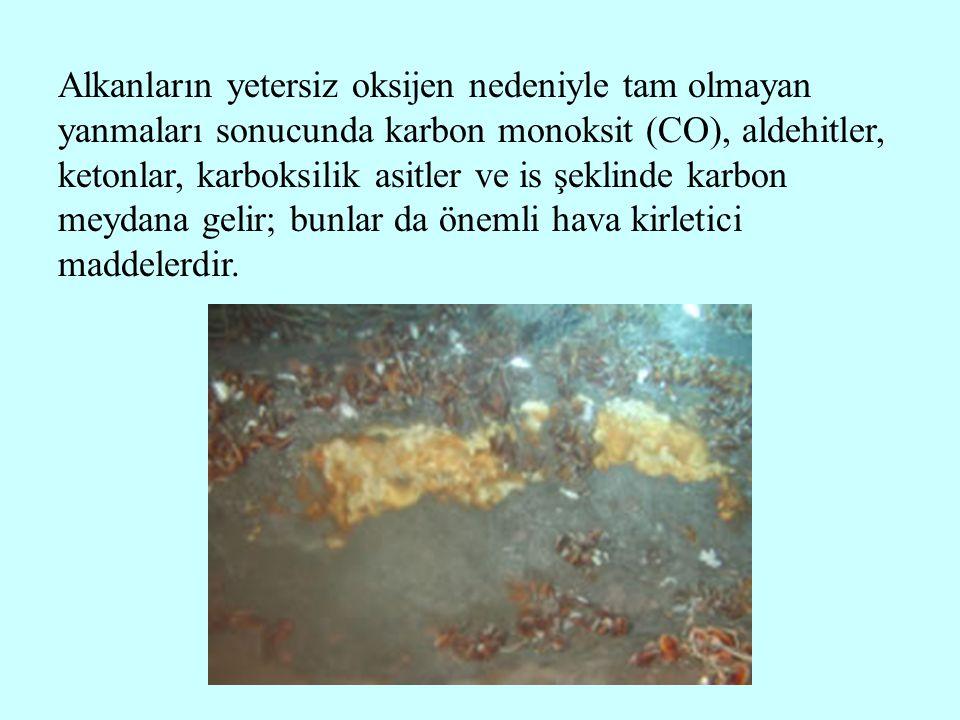 Alkanların yetersiz oksijen nedeniyle tam olmayan yanmaları sonucunda karbon monoksit (CO), aldehitler, ketonlar, karboksilik asitler ve is şeklinde k