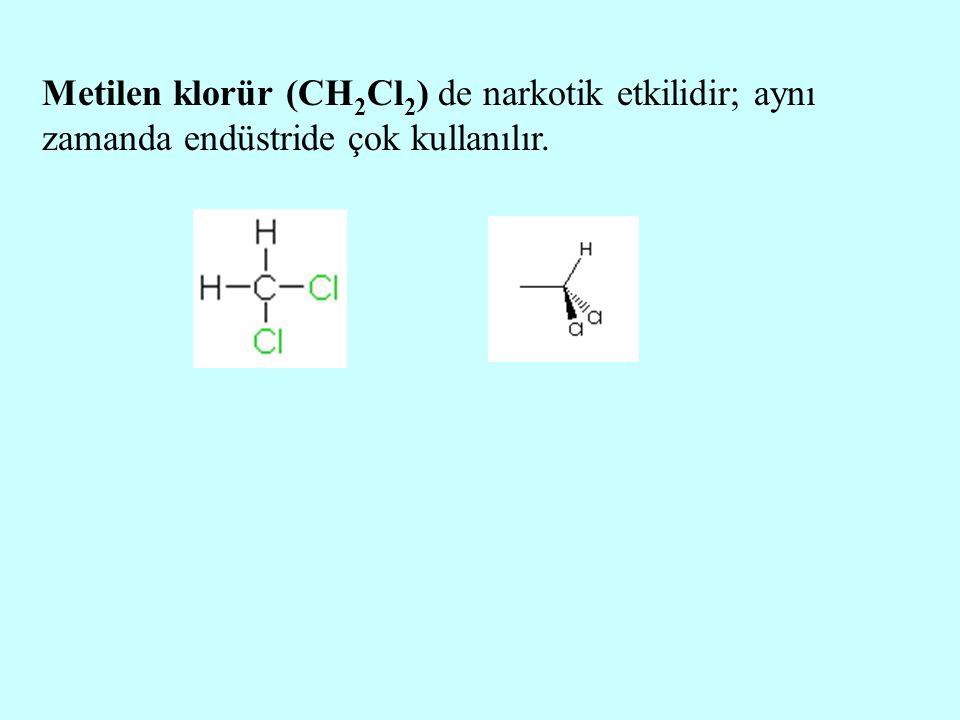 Metilen klorür (CH 2 Cl 2 ) de narkotik etkilidir; aynı zamanda endüstride çok kullanılır.