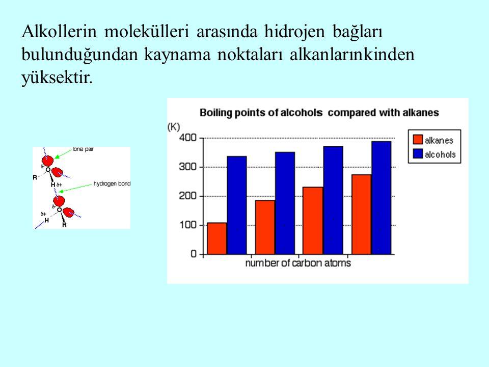 Alkollerin molekülleri arasında hidrojen bağları bulunduğundan kaynama noktaları alkanlarınkinden yüksektir.