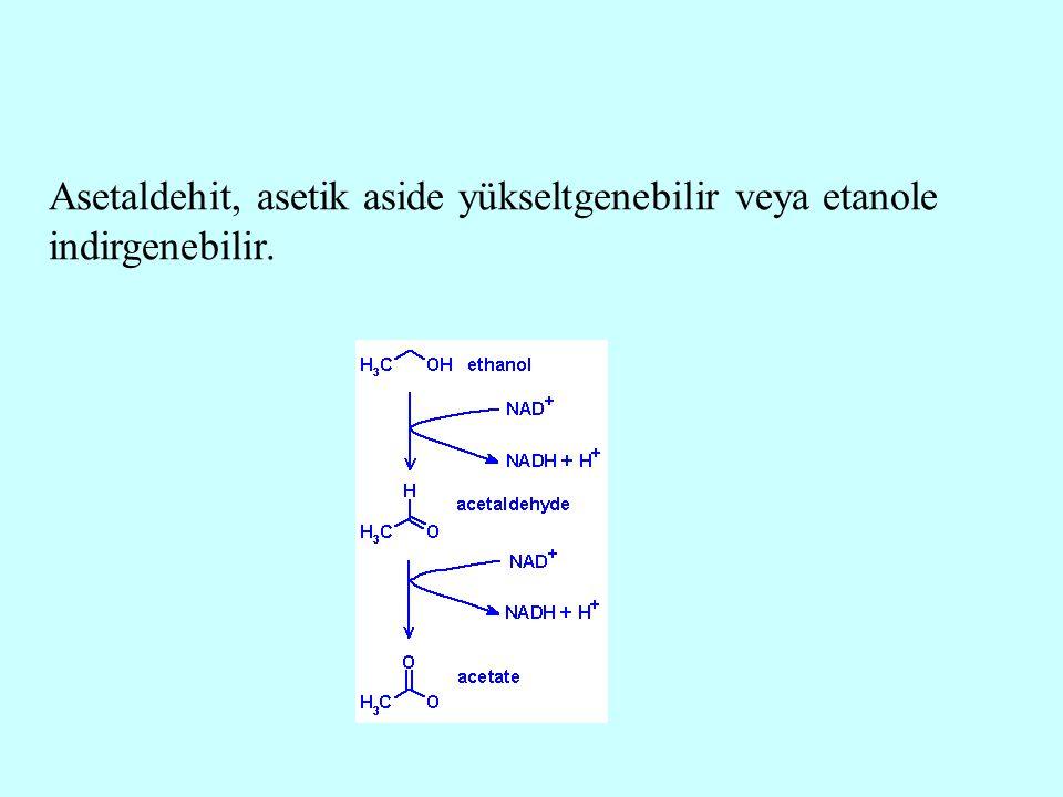Asetaldehit, asetik aside yükseltgenebilir veya etanole indirgenebilir.
