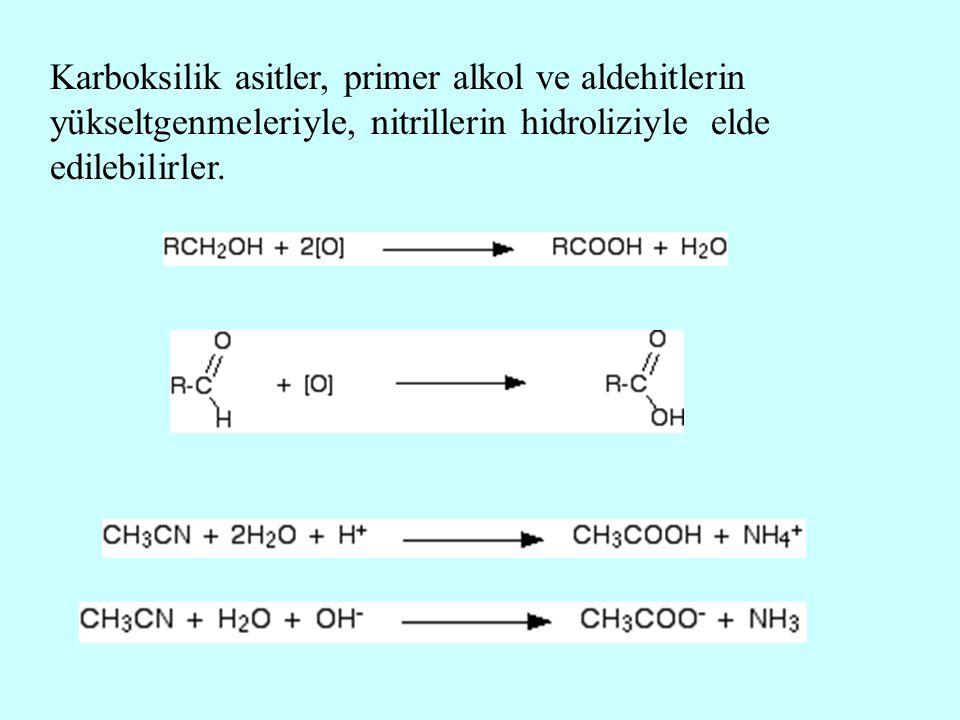 Karboksilik asitler, primer alkol ve aldehitlerin yükseltgenmeleriyle, nitrillerin hidroliziyle elde edilebilirler.
