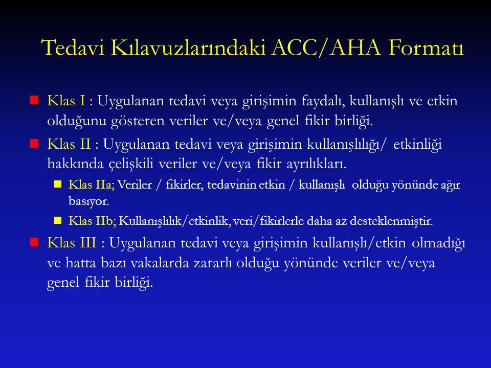 Tedavi Kılavuzlarındaki ACC/AHA Formatı Klas I : Uygulanan tedavi veya girişimin faydalı, kullanışlı ve etkin olduğunu gösteren veriler ve/veya genel
