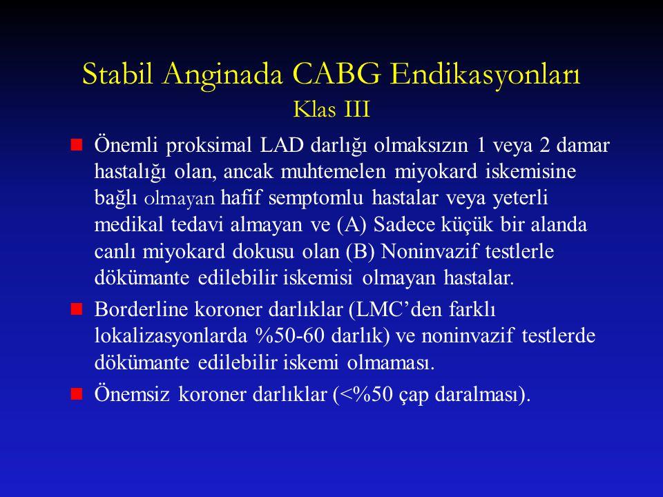 Stabil Anginada CABG Endikasyonları Klas III Önemli proksimal LAD darlığı olmaksızın 1 veya 2 damar hastalığı olan, ancak muhtemelen miyokard iskemisi