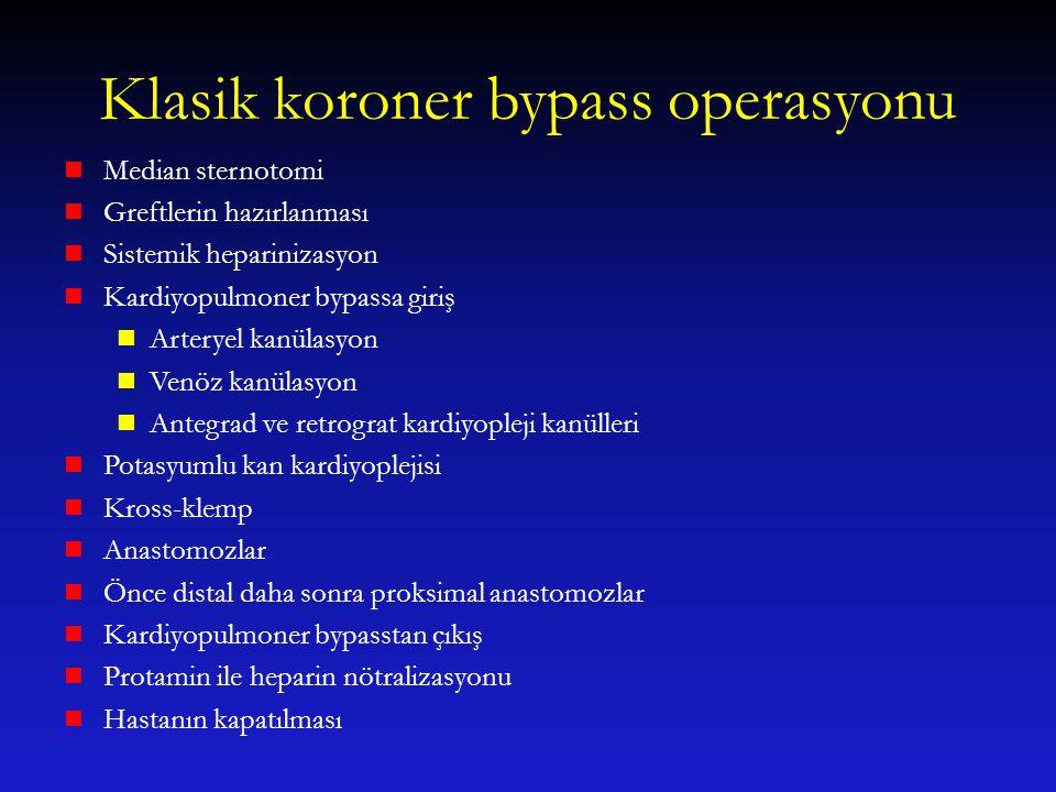 Klasik koroner bypass operasyonu Median sternotomi Greftlerin hazırlanması Sistemik heparinizasyon Kardiyopulmoner bypassa giriş Arteryel kanülasyon V