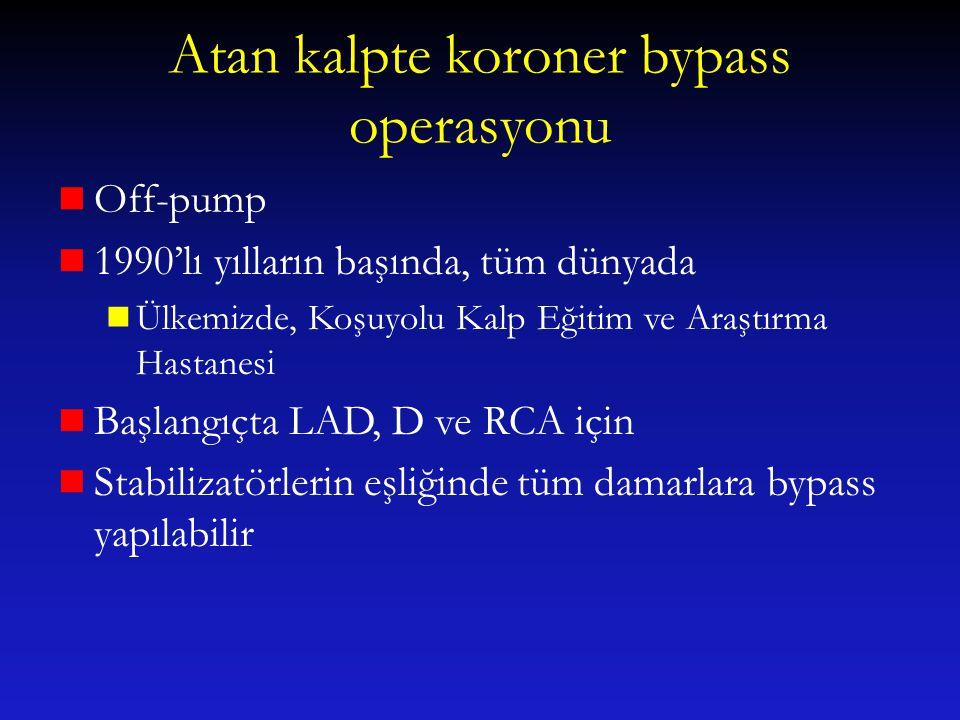 Atan kalpte koroner bypass operasyonu Off-pump 1990'lı yılların başında, tüm dünyada Ülkemizde, Koşuyolu Kalp Eğitim ve Araştırma Hastanesi Başlangıçt