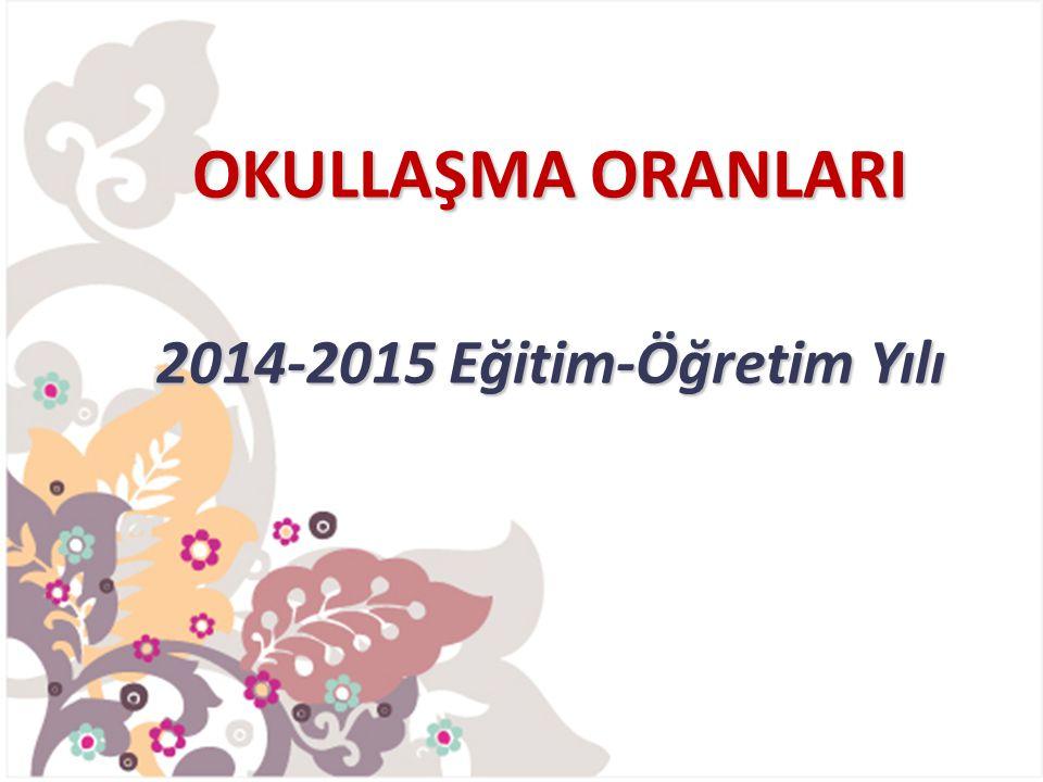 OKULLAŞMA ORANLARI 2014-2015 Eğitim-Öğretim Yılı