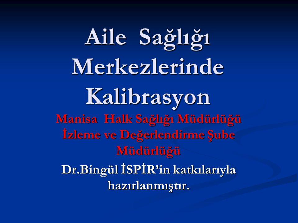 Aile Sağlığı Merkezlerinde Kalibrasyon Manisa Halk Sağlığı Müdürlüğü İzleme ve Değerlendirme Şube Müdürlüğü Dr.Bingül İSPİR'in katkılarıyla hazırlanmı