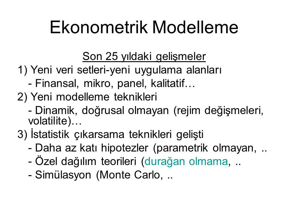Ekonometrik Modelleme Son 25 yıldaki gelişmeler 1) Yeni veri setleri-yeni uygulama alanları - Finansal, mikro, panel, kalitatif… 2) Yeni modelleme tek