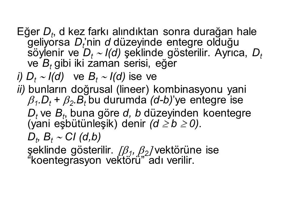 Eğer D t, d kez farkı alındıktan sonra durağan hale geliyorsa D t 'nin d düzeyinde entegre olduğu söylenir ve D t  I(d) şeklinde gösterilir. Ayrıca,