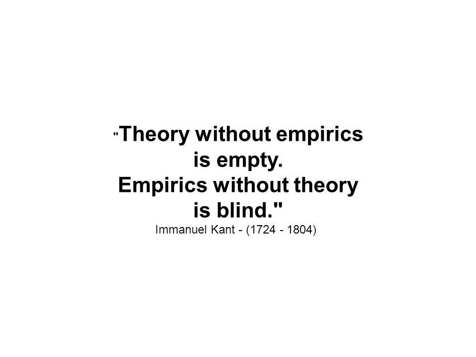 Theory without empirics is empty.