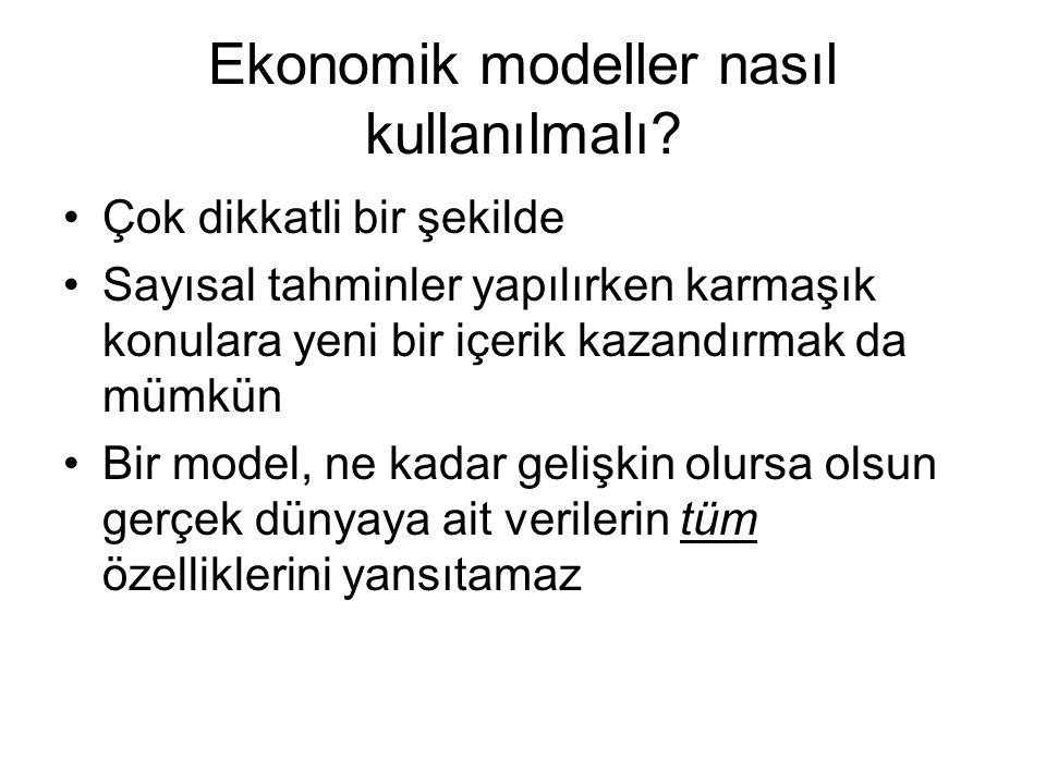 Ekonomik modeller nasıl kullanılmalı? Çok dikkatli bir şekilde Sayısal tahminler yapılırken karmaşık konulara yeni bir içerik kazandırmak da mümkün Bi