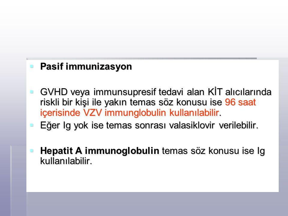  Pasif immunizasyon  GVHD veya immunsupresif tedavi alan KİT alıcılarında riskli bir kişi ile yakın temas söz konusu ise 96 saat içerisinde VZV immu
