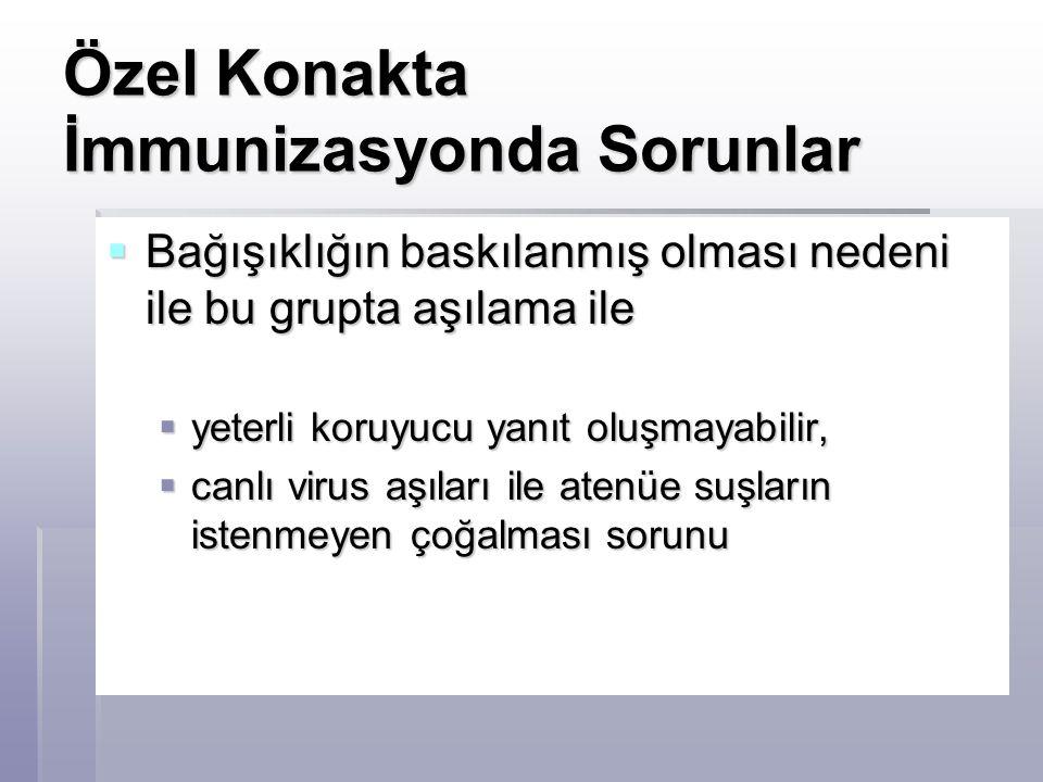  Zoster aşısı  Zoster hastalığı özellikle Hodgkin hastalarında %30 civarında  Kanser hastalarında kontrendikedir.