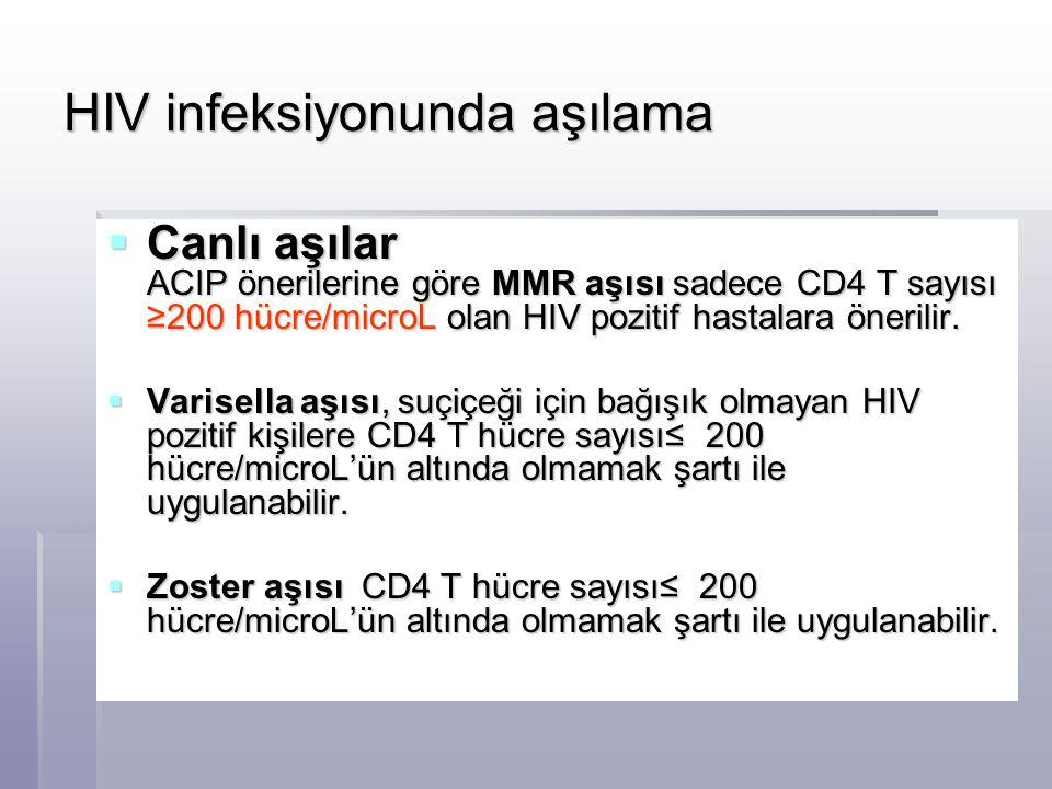 HIV infeksiyonunda aşılama  Canlı aşılar ACIP önerilerine göre MMR aşısı sadece CD4 T sayısı ≥200 hücre/microL olan HIV pozitif hastalara önerilir. 
