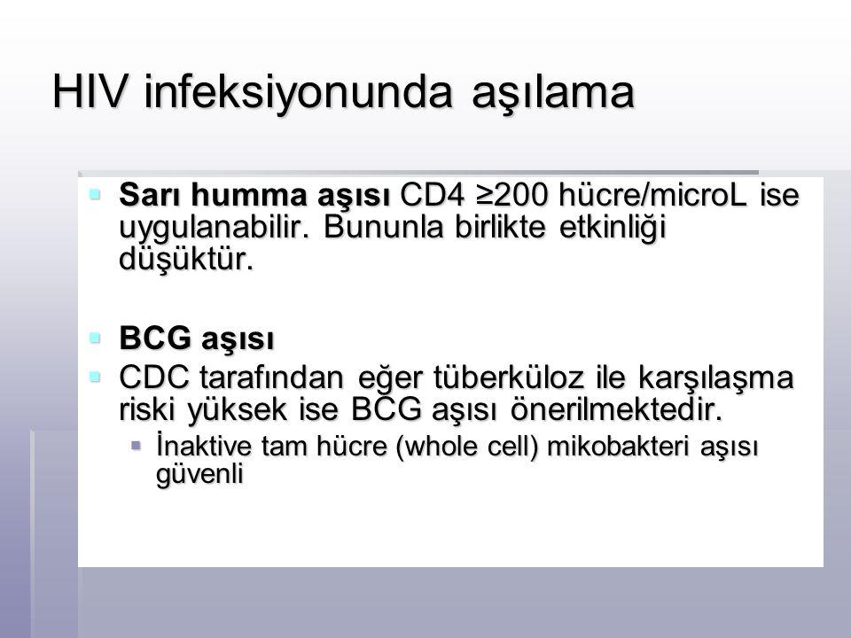 HIV infeksiyonunda aşılama  Sarı humma aşısı CD4 ≥200 hücre/microL ise uygulanabilir. Bununla birlikte etkinliği düşüktür.  BCG aşısı  BCG aşısı 