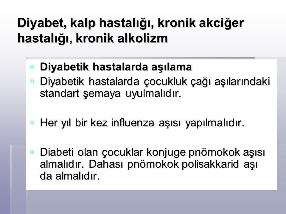 Diyabet, kalp hastalığı, kronik akciğer hastalığı, kronik alkolizm  Diyabetik hastalarda aşılama  Diyabetik hastalarda çocukluk çağı aşılarındaki st