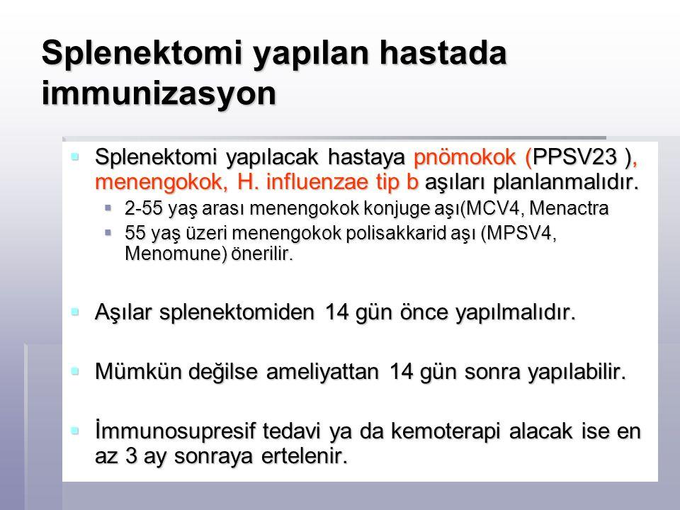 Splenektomi yapılan hastada immunizasyon  Splenektomi yapılacak hastaya pnömokok (PPSV23 ), menengokok, H. influenzae tip b aşıları planlanmalıdır. 