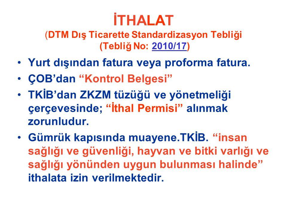 İTHALAT (DTM Dış Ticarette Standardizasyon Tebliği (Tebliğ No: 2010/17)2010/17 Yurt dışından fatura veya proforma fatura.