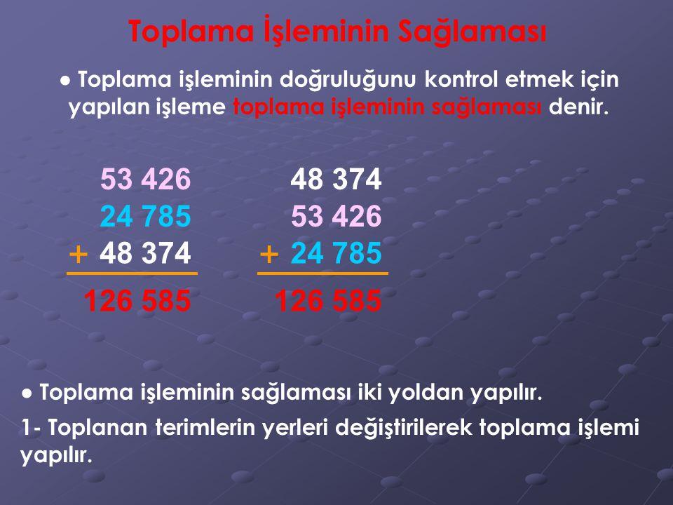 Toplama İşleminin Sağlaması ● Toplama işleminin doğruluğunu kontrol etmek için yapılan işleme toplama işleminin sağlaması denir. 53 426 24 785 48 374