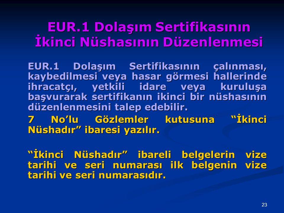 23 EUR.1 Dolaşım Sertifikasının İkinci Nüshasının Düzenlenmesi EUR.1 Dolaşım Sertifikasının çalınması, kaybedilmesi veya hasar görmesi hallerinde ihra