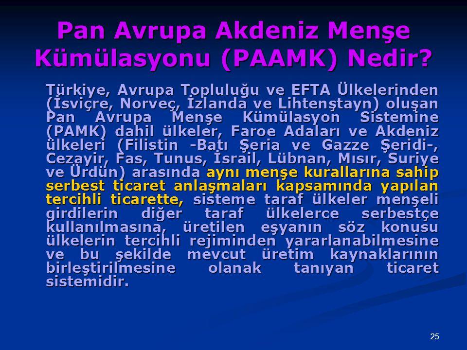 25 Pan Avrupa Akdeniz Menşe Kümülasyonu (PAAMK) Nedir? Türkiye, Avrupa Topluluğu ve EFTA Ülkelerinden (İsviçre, Norveç, İzlanda ve Lihtenştayn) oluşan