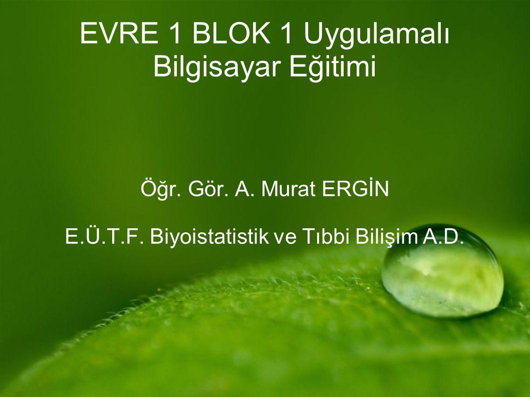 EVRE 1 BLOK 1 Uygulamalı Bilgisayar Eğitimi Öğr. Gör. A. Murat ERGİN E.Ü.T.F. Biyoistatistik ve Tıbbi Bilişim A.D.