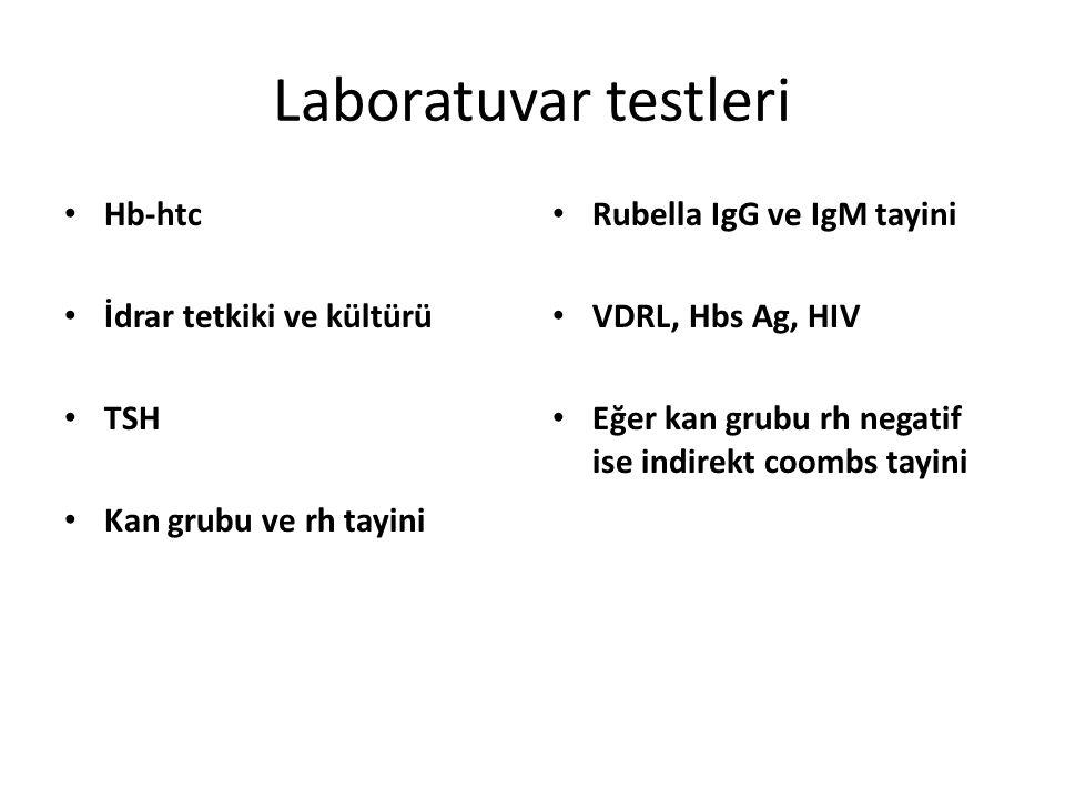 Laboratuvar testleri Hb-htc İdrar tetkiki ve kültürü TSH Kan grubu ve rh tayini Rubella IgG ve IgM tayini VDRL, Hbs Ag, HIV Eğer kan grubu rh negatif