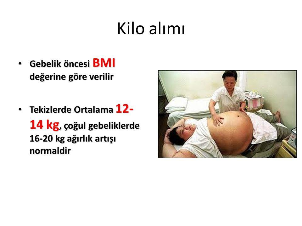Kilo alımı Gebelik öncesi BMI değerine göre verilir Gebelik öncesi BMI değerine göre verilir Tekizlerde Ortalama 12- 14 kg, çoğul gebeliklerde 16-20 k