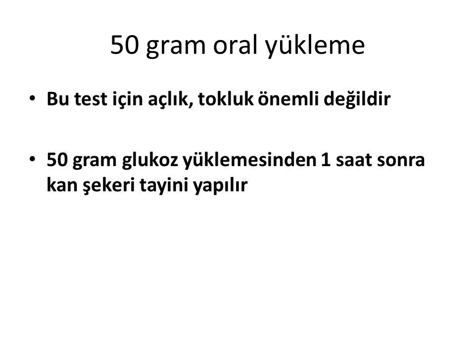 50 gram oral yükleme Bu test için açlık, tokluk önemli değildir 50 gram glukoz yüklemesinden 1 saat sonra kan şekeri tayini yapılır