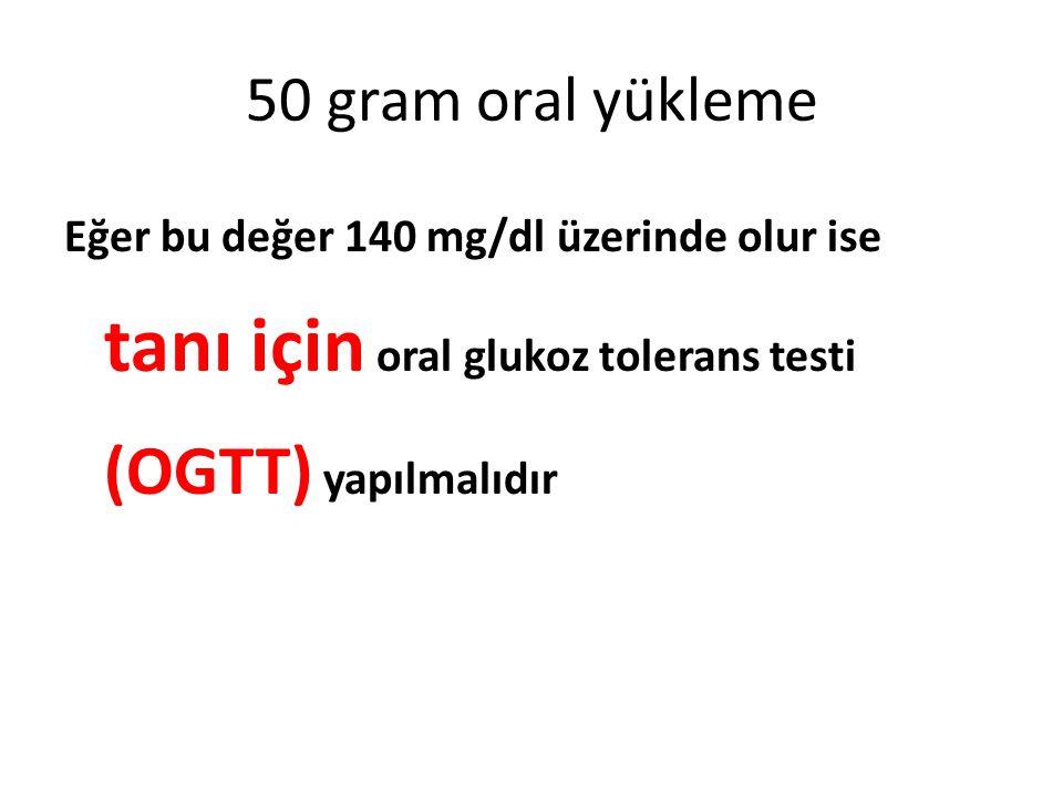 50 gram oral yükleme Eğer bu değer 140 mg/dl üzerinde olur ise tanı için oral glukoz tolerans testi (OGTT) yapılmalıdır