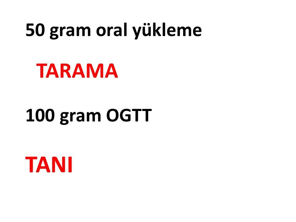 50 gram oral yükleme TARAMA 100 gram OGTT TANI