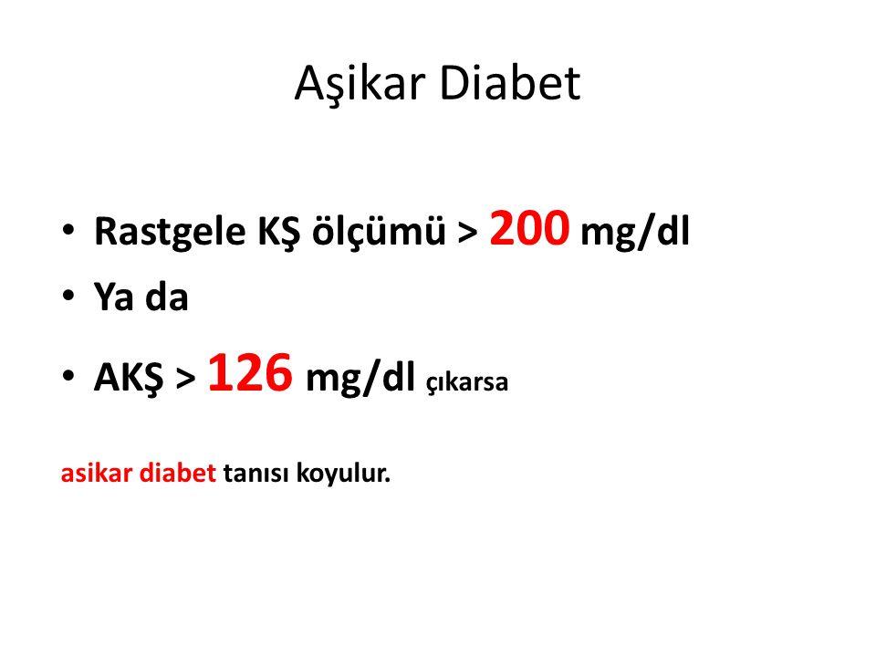 Aşikar Diabet Rastgele KŞ ölçümü > 200 mg/dl Ya da AKŞ > 126 mg/dl çıkarsa asikar diabet tanısı koyulur.