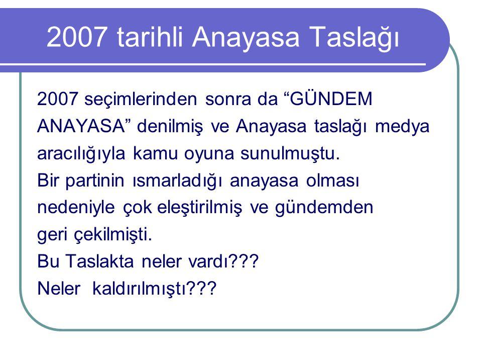 """2007 tarihli Anayasa Taslağı 2007 seçimlerinden sonra da """"GÜNDEM ANAYASA"""" denilmiş ve Anayasa taslağı medya aracılığıyla kamu oyuna sunulmuştu. Bir pa"""
