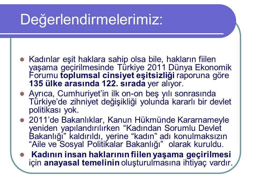 Değerlendirmelerimiz: Kadınlar eşit haklara sahip olsa bile, hakların fiilen yaşama geçirilmesinde Türkiye 2011 Dünya Ekonomik Forumu toplumsal cinsiy
