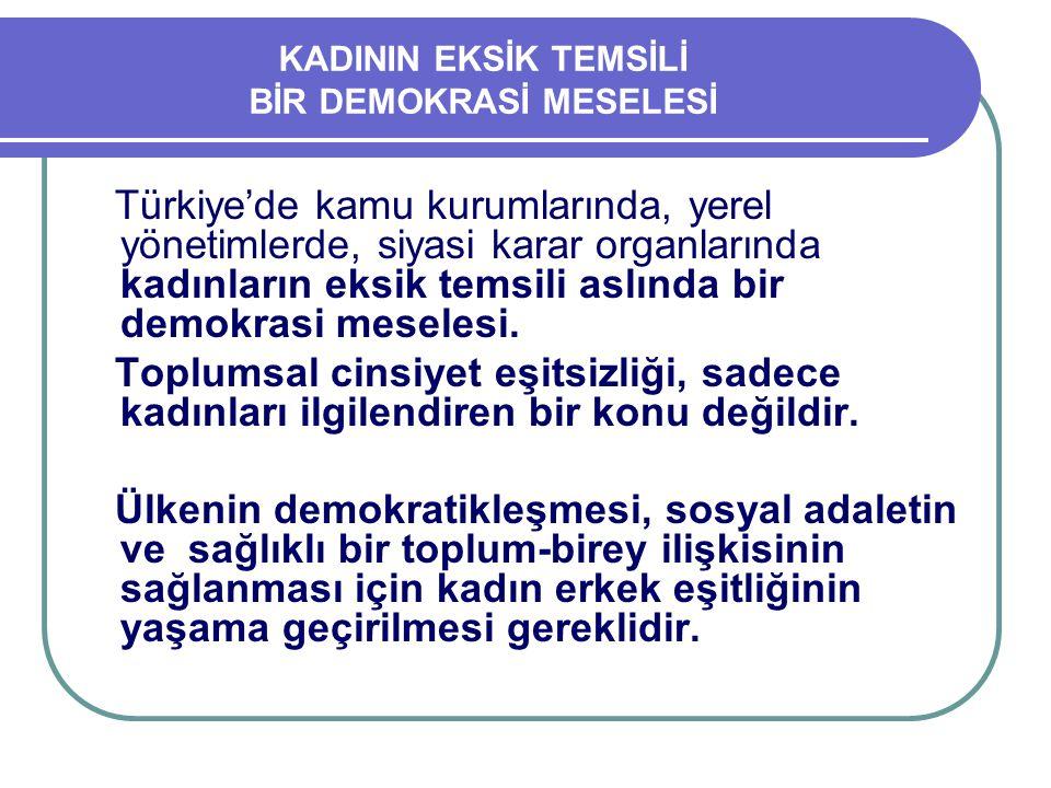 KADININ EKSİK TEMSİLİ BİR DEMOKRASİ MESELESİ Türkiye'de kamu kurumlarında, yerel yönetimlerde, siyasi karar organlarında kadınların eksik temsili aslı